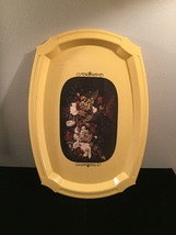 Vintage 70s yellow acrylic serving tray with floral art overlay