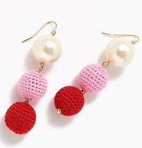 NWT J.Crew 100 %Authentic CERISE Crochet bead-and-pearl drop Earrings $65 - $24.99
