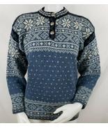 LL Bean Nordic Sweater Womens Sz XS Fair Isle Birdseye Wool Blend Button... - $52.45