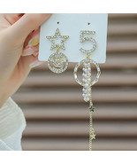 Korean Famouse Design Star Letter Crystal NO 5 Earring For Women Shining... - $13.28