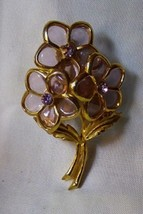 Vintage 1960s Goldtone PIN 3 Lilac Jelly Belly 5 Petal Flowers w/ Rhines... - $35.00