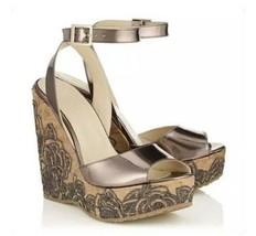 Authentic NIB JIMMY CHOO Patara Leather Cork Wedge Sandals Shoes-Sz:38.5... - $213.79