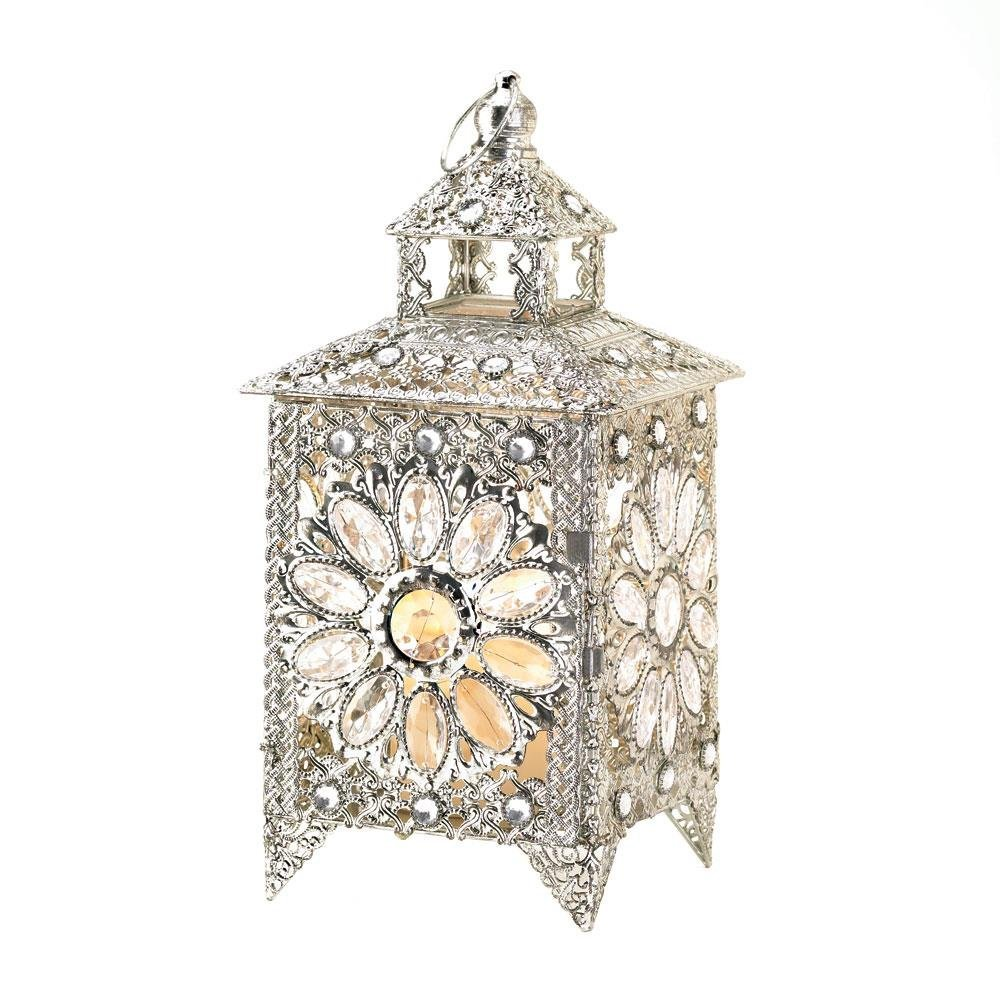 Candle Holder Lantern, Decorative Indoor Crown Jewels Metal Candle Lamp,  Silver