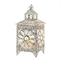 Candle Holder Lantern, Decorative Indoor Crown Jewels Metal Candle Lamp,  Silver image 1