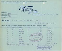 1903 Wisconsin Chair Co. Billhead Port Washington WI Furniture - $5.00