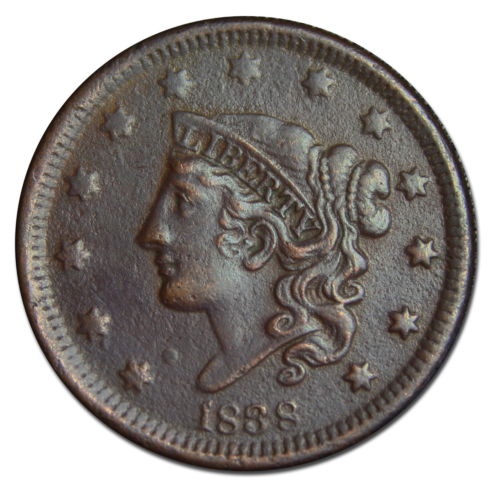 1838 Large Cent Liberty Coronet Head Coin Lot # MZ 2950