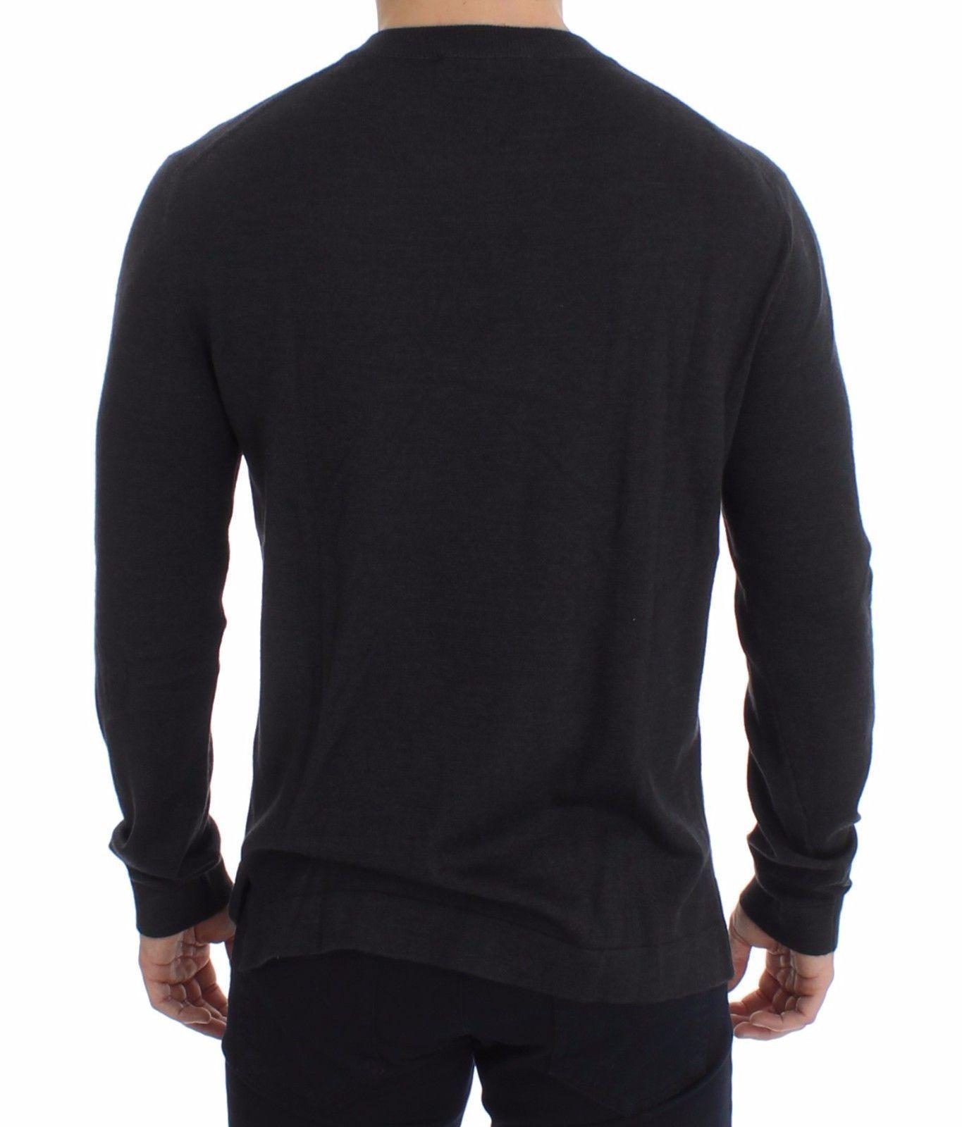 Dolce & Gabbana Gray Silk Cashmere V-neck Sweater Pullover 14904