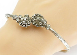 925 Sterling Silver - Vintage Sculpted Woman Detail Cuff Bracelet - B5890 - $116.27