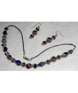 Custom Made! Choker & Earring Set,Deep Blue & Pink Octagonal Beads - $20.95