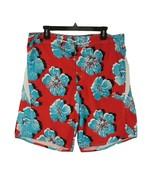 Joe Boxer Mens Red Sky Blue Floral Drawstring Short Swimming Trunks Size 34 - $19.36