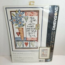 "Dimensions Counted Cross Stitch Hear and Soul Flowers 9""x 13"" - $19.35"