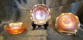 Vtg Jeannette Marigold Carnival Glass Iris and Herrinbone-Set of 4 (circ... - $20.00