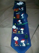 P EAN Uts Charles Schulz Tie Necktie Snoopy Woodstock Charlie Brown Golf - $14.84