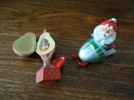 2 Hallmark Christmas Ornaments Santa Snowmobile Partridge Pear Tree 1984... - $57.83