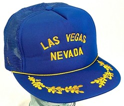 Las Vegas Nevada Hat-Mesh-Rope Bill-Embroidered-Snapback-Leaf Bill-Vintage - $28.04