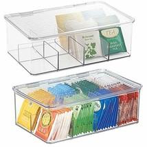 2 Stackable Tea Bag Holder Storage Bin Box Organizer Display Hold Lid Cl... - $39.55