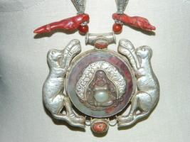 Vintage Tibetan Silver Red Coral Carnelian Jade Buddha Animal Pendant Ne... - $841.50