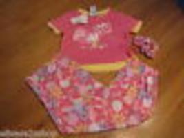 Girls Children's Place 3 piece set PJ sleepwear XS 4 top bottom scrunchie NWT ^ - $5.87