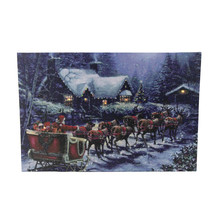 "Northlight LED Santa Claus in Sleigh Christmas Canvas Wall Art 15.75"" x ... - $21.77"