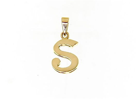 18K YELLOW GOLD LUSTER PENDANT WITH INITIAL S LETTER S MADE IN ITALY 0.71 INCHES