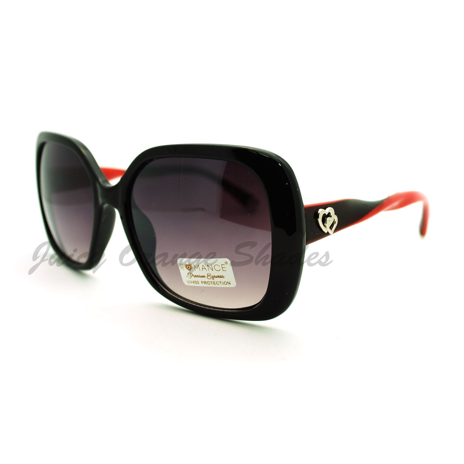 Women's Square Frame Sunglasses Twisted Design Heart Tip