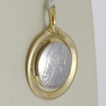 Pendant Yellow Gold Medal White 750 18k, Madonna and Christ, Mary and Jesus image 2