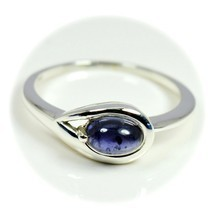 Real Cabochon Iolite Ring 925 Sterling Silver Oval Shape Astrology For W... - £21.14 GBP