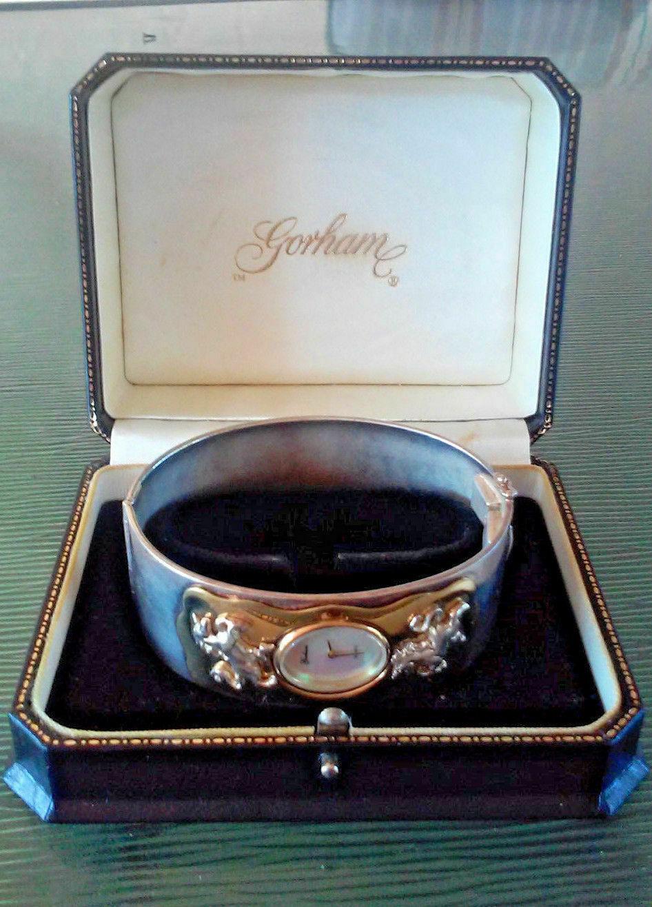 Vintage Gorham Unicorn Two Tone Hinged Bangle Bracelet Wrist Watch in Box RARE F