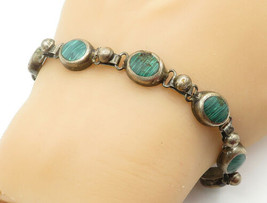 MEXICO 925 Silver - Vintage Malachite Inlay Round Link Chain Bracelet - ... - $72.12