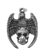 Sterling Silver Deadly Crow Foreshadows Death on Skull Skeleton Charm Je... - $49.01