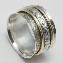 SOLID 925 STERLING SILVER MEDITATION STATEMENT SPINNER RING JEWELRY ss86 - $10.99