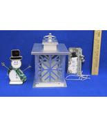 Lantern Candle Holder Flameless Snowflake Stain Glass Snowman Metal Snow... - $17.86