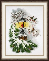 Cross Stitch Kit Hand Embroidery Birds Lamp Christmas Winter - $25.00