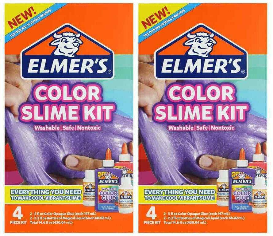 Lot 2X Elmer's Color Slime Kit Multi-Colored 4 Piece kit Pink Purple Kids Gift