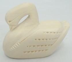 """Manuel Montoya Carved Swan Natural Wood 3"""" Long Signed Chip Carving image 1"""