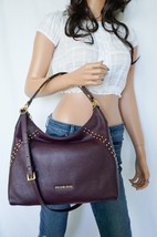 MICHAEL KORS ARIA MD TOP ZIP SHOULDER PEBBLED LEATHER BAG PLUM(DAMSON)GO... - $128.69