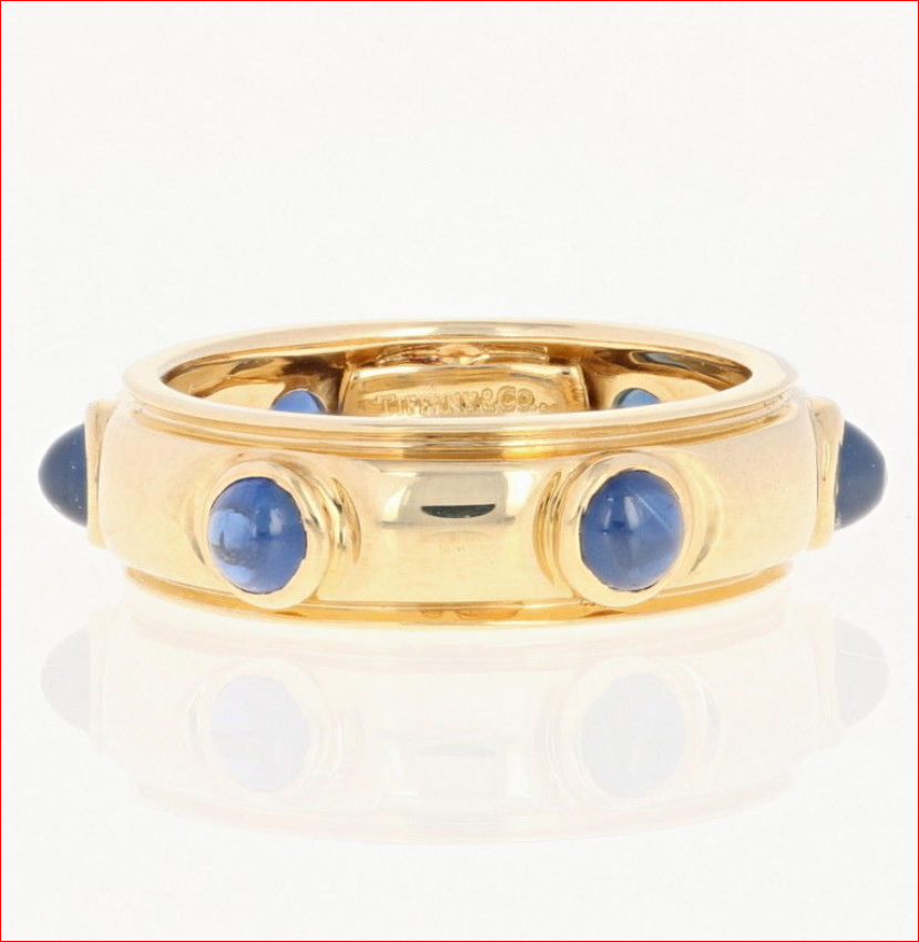 45be2e9eb Tiffany & Co. 18k Yellow Gold Etoile Blue Sapphire Cabochon Eternity Band  Ring
