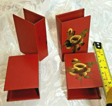 ANTIQUE SET OF FOUR HAND PAINTED MATCH COVERS NASHCO YELLOW FLOWERS ON BURGUNDY image 3