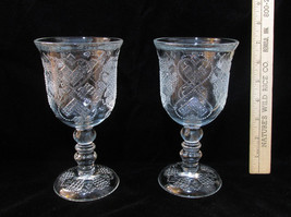 Pair Set 2 Vintage Avon Heart & Diamond Wine Goblets Glasses Clear Glass... - $12.86