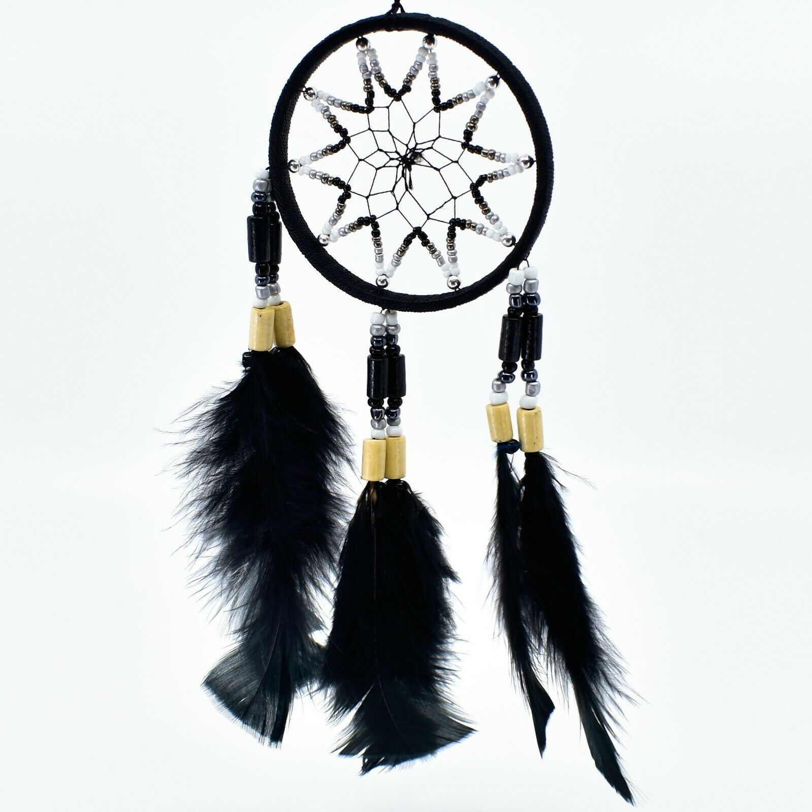 """Handcrafted Miniature 9"""" Dreamcatcher Plastic & Wood Beads w Black Feathers"""
