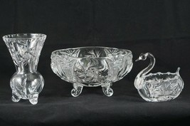 (Set of 3) ABC Glass Footed Vase Swan Dish 4 Footed Candy Dish Pinwheel Fan - $47.89