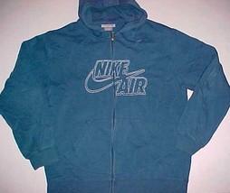 Nike Air Swoosh Blue White Stitched Full Zipper Hoodie L - $59.39