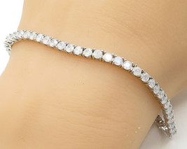 925 Sterling Silver - Brilliant Cut Shatter Stone Tennis Bracelet - B2689 - $38.57