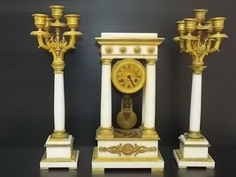 RARE ANTIQUE VICTORIAN FRENCH TIFFANY & CO PORTICO CLOCK W/ CANDELABRAS - $3,800.00