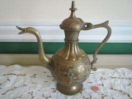 Vintage Etched Brass Goose Spout Coffee Tea Pot Pitcher India - $28.22