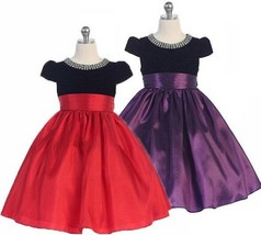Posh Holiday Flower Girl Pageant Dress, Red or Purple, Crayon Kids USA 332 - $54.99