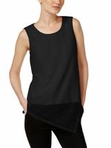 CALVIN KLEIN Size XS Asymmetrical Sleeveless Top BLACK - $65.29