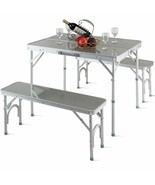 Durable Aluminum Portable Folding Picnic Table w/2 Benches - Outdoor Rec. - $93.09