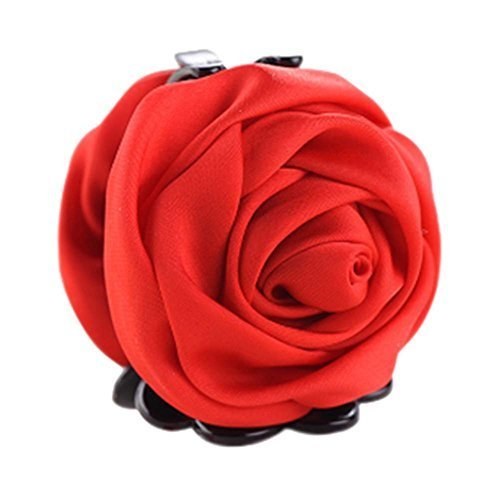 A Beautiful Rose Flower Hair Clips Headwear Ponytail Clip, Red