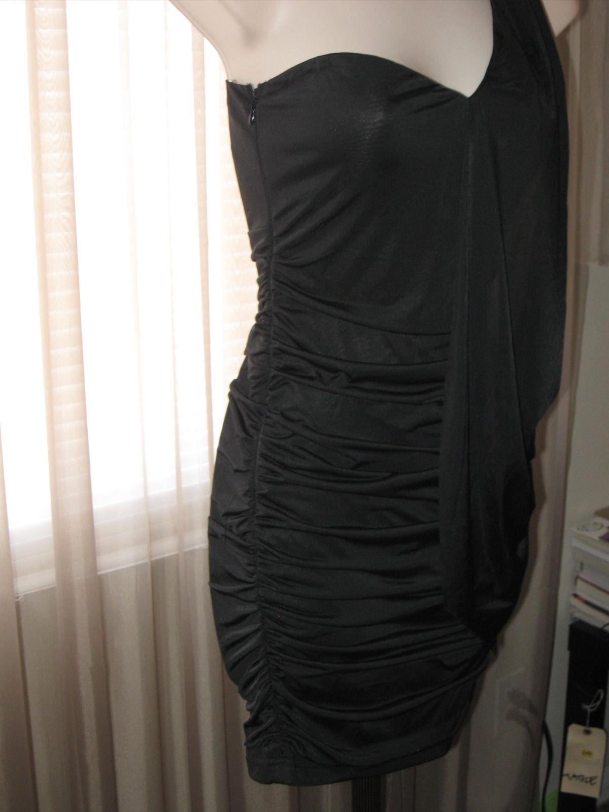 59a0e2d74e3f XS/S NIKIBIKI Black Pencil One-Shoulder Party Elegnant Waterfall Front Dress
